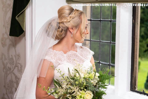 Real bride Vicky wearing Jodie earrings