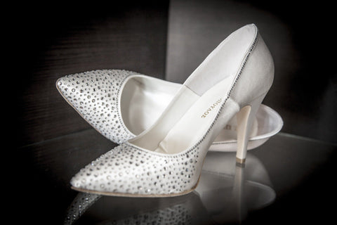 White Sparkly high heeled wedding shoes