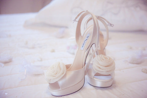 Wedding shoes with floral fabric detail
