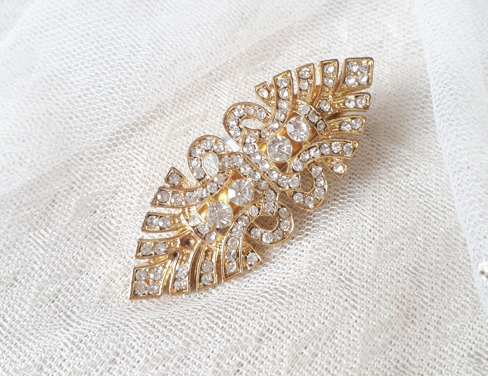 Bronte, Art Deco Style Gold Crystal Clip