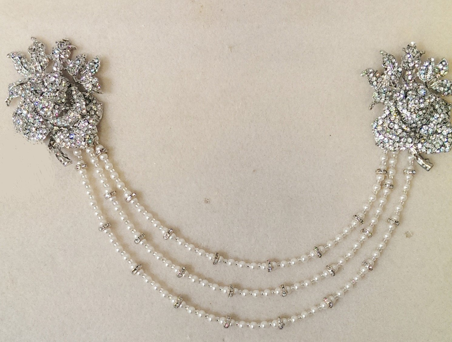 Custom piece for Bobby *Vintage Style Hair Draping Pearls and Rhinestone Features, Anita.