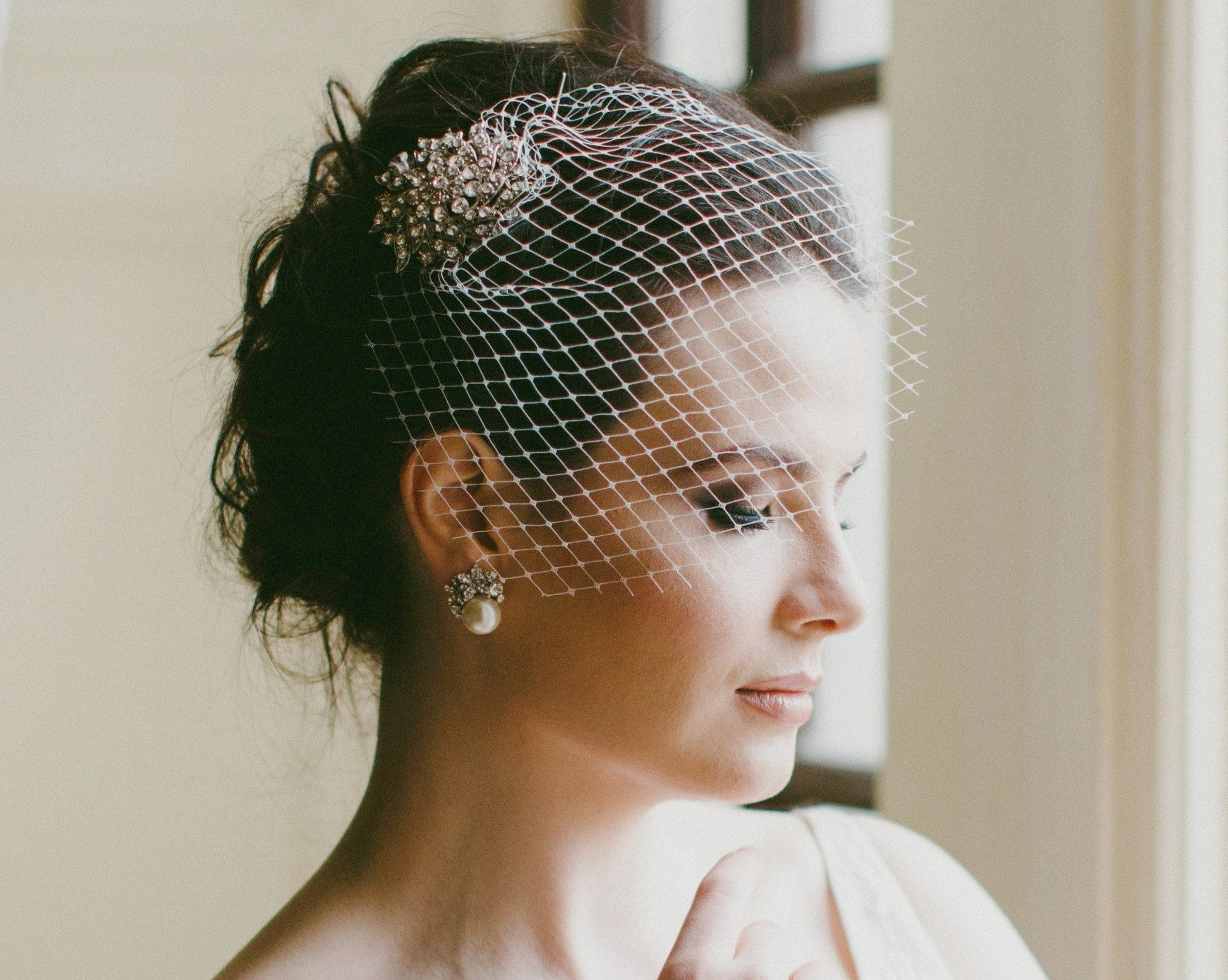 Birdcage Veils & Fascinators - Antique Style Hair Clip With Birdcage Veil, Bianca