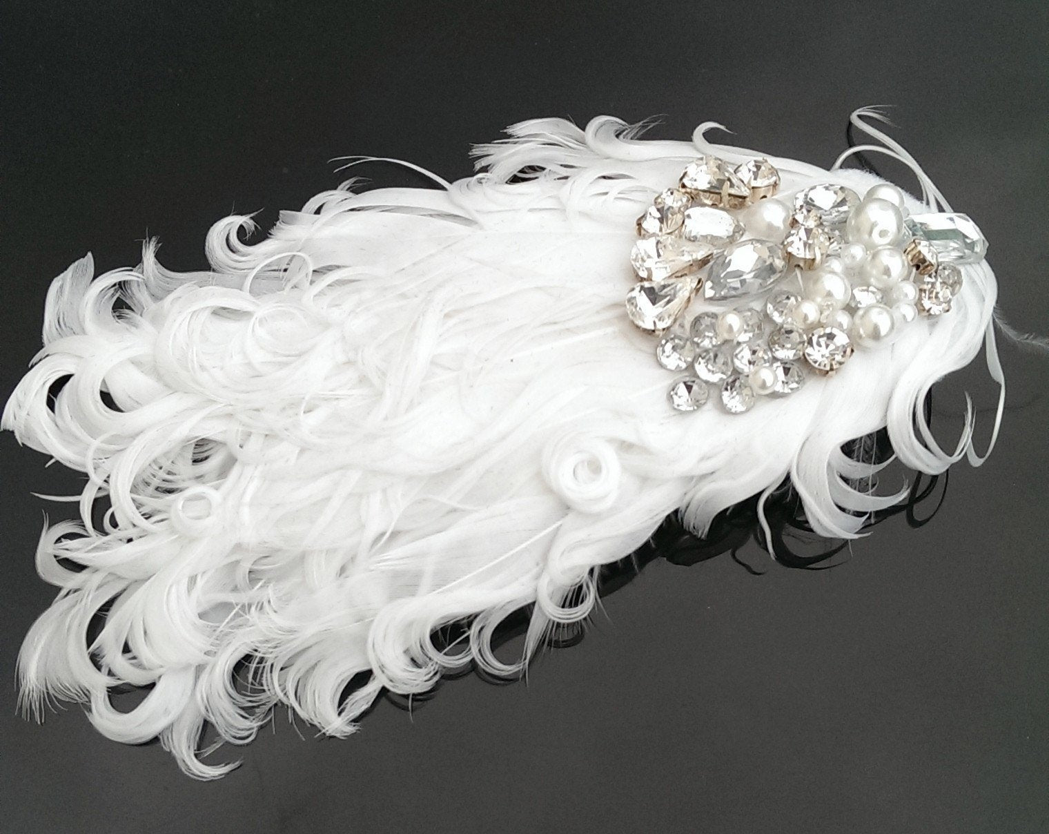 Birdcage Veils & Fascinators - Curled Feather Vintage Inspired Wedding Feather Headpiece, Swanlake