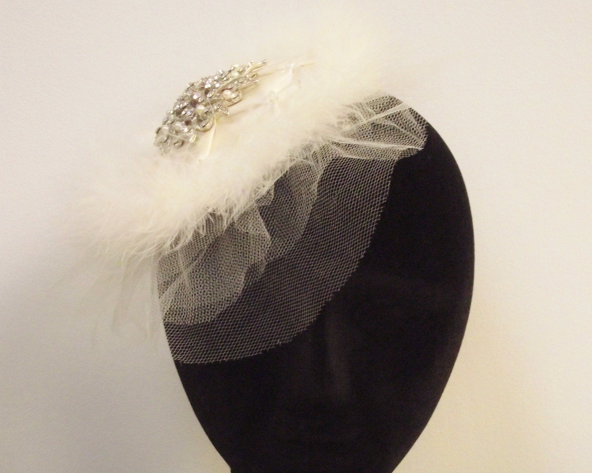 Birdcage Veils & Fascinators - Feather, Satin & Tulle Headpiece, With Antique Style Brooch, Serena