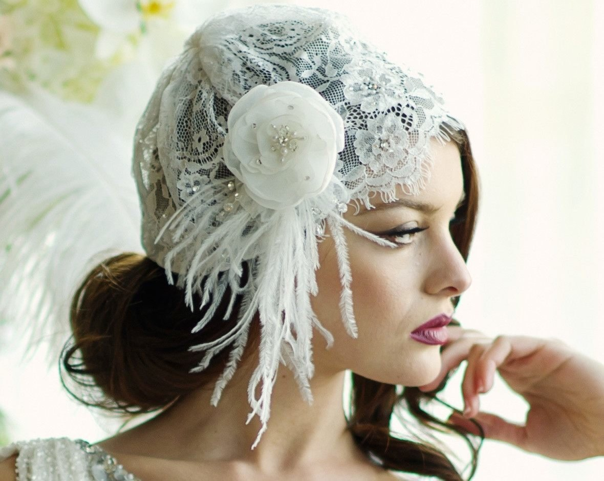 Birdcage Veils & Fascinators - French Lace Bridal Cap, Juliet