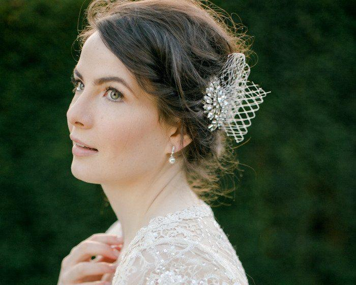 Birdcage Veils & Fascinators - French Net Wedding Fascinator, Spring
