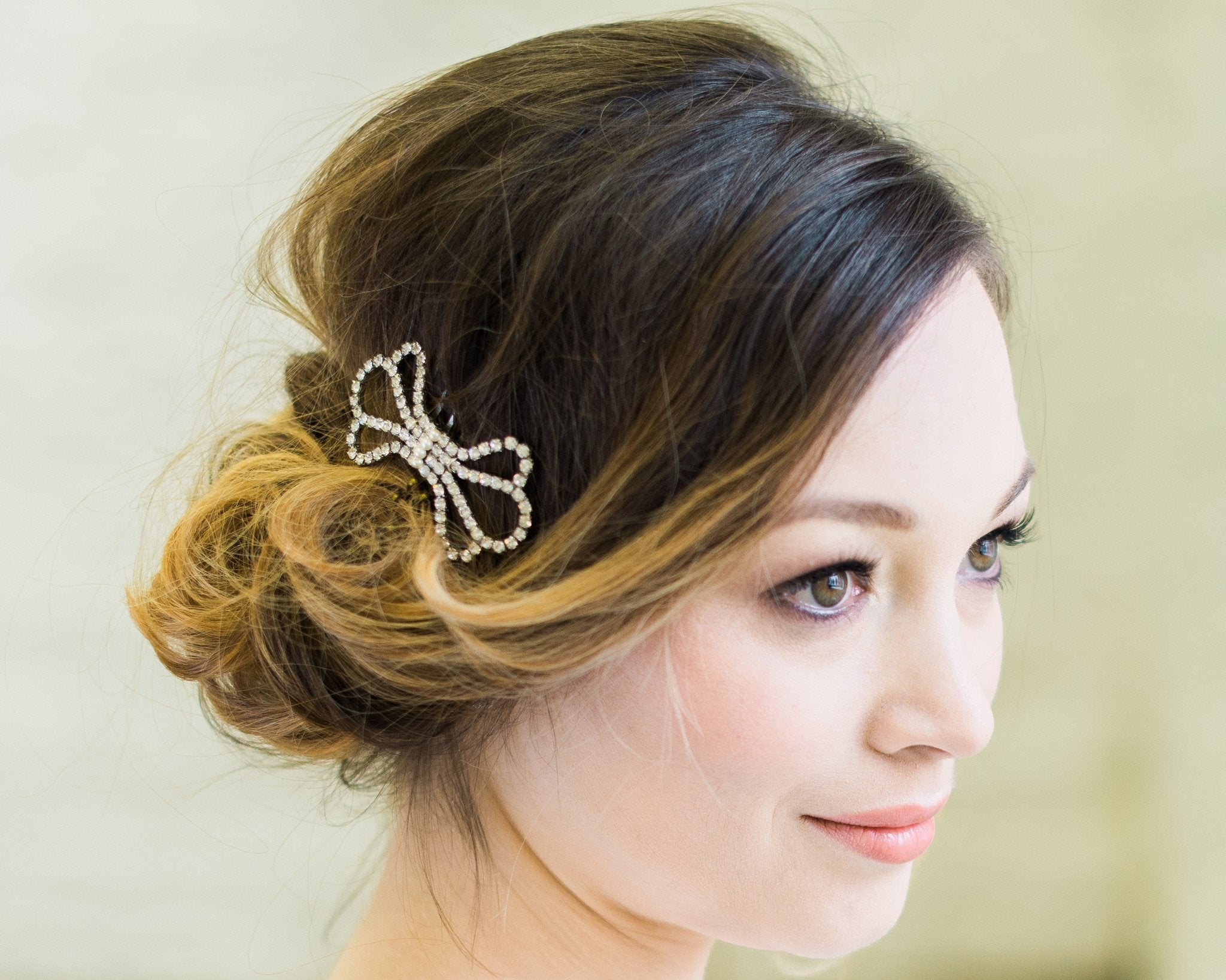 Vintage Inspired Style Wedding Comb, Bow