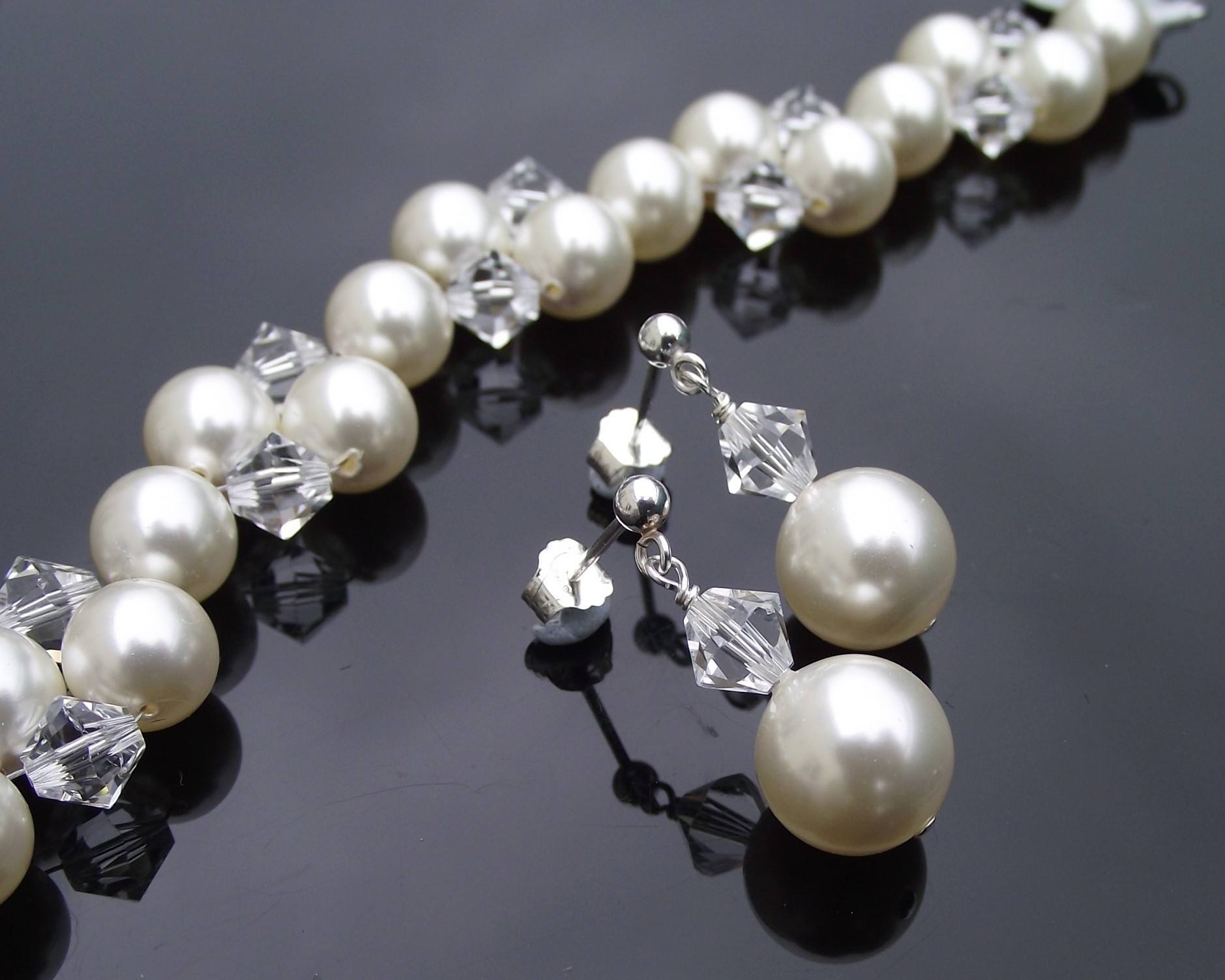 Bracelet & Earring Sets - Bridesmaids Crystal & Pearl Bracelet & Earring Set, Clarissa