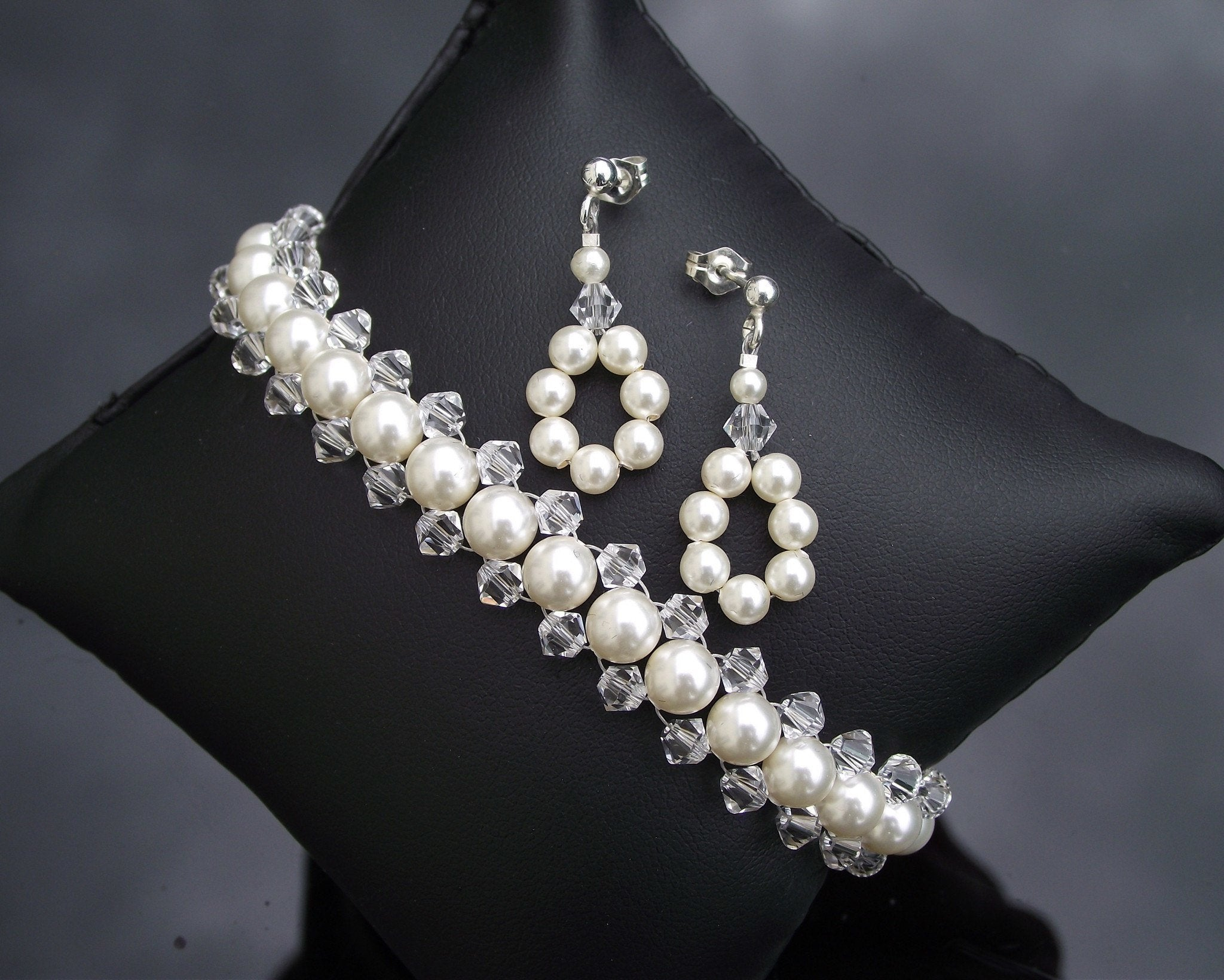 Woven Pearl and Crystal Bridesmaids Bracelet and Earring Set Anabelle
