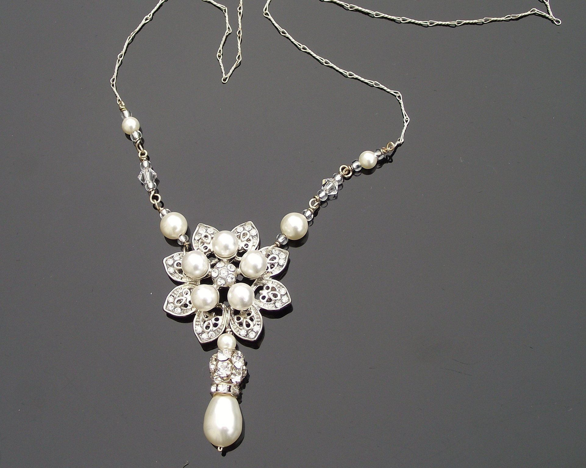Bridesmaids Pendants - Floral Rhinestone And Ivory Pearl Pendant, Alyson
