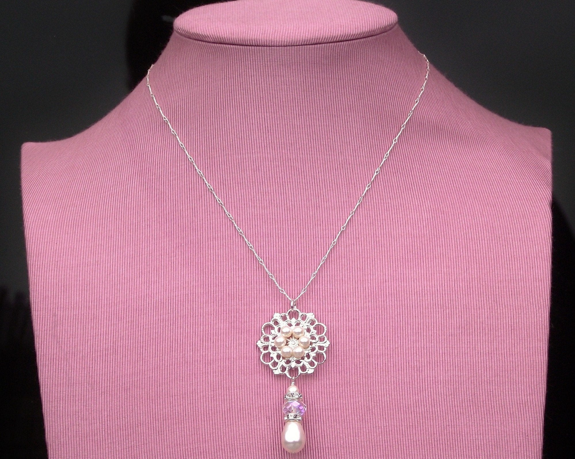 Bridesmaids Pendants - Tear-drop Pearl And Sterling Silver Necklace, Genie