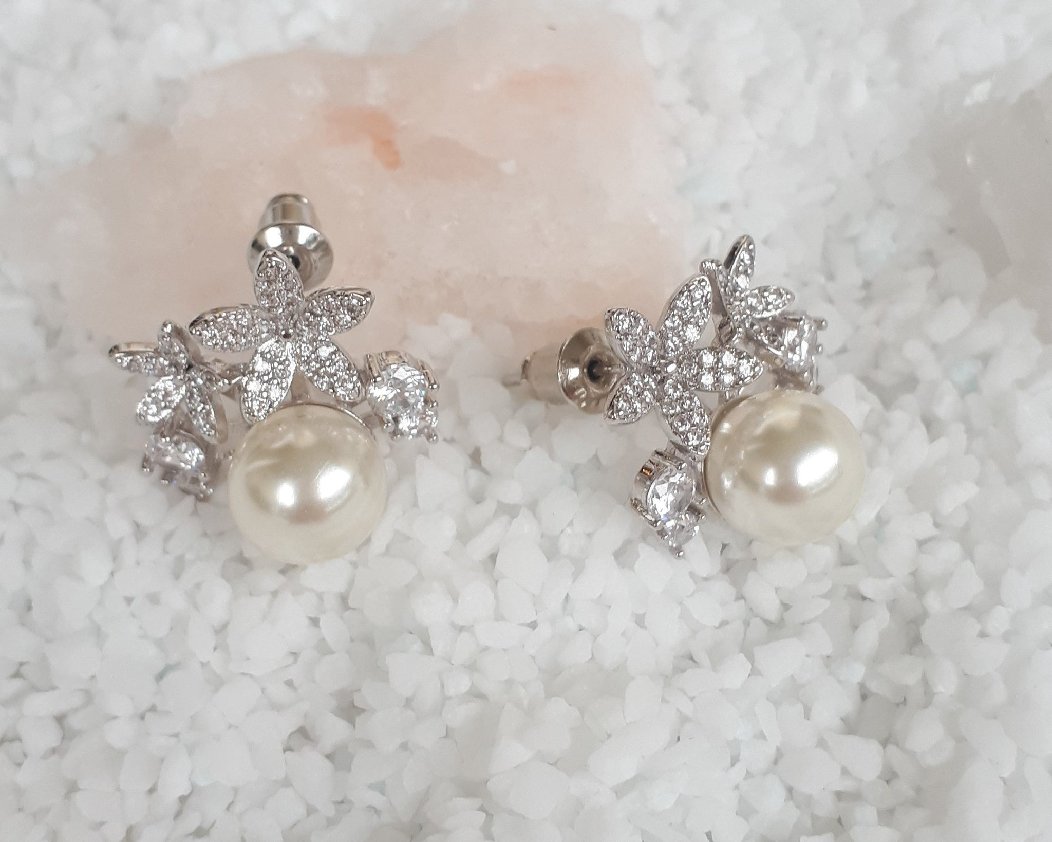 Vintage Style Pearl & Crystal Stud Earrings, Carrie