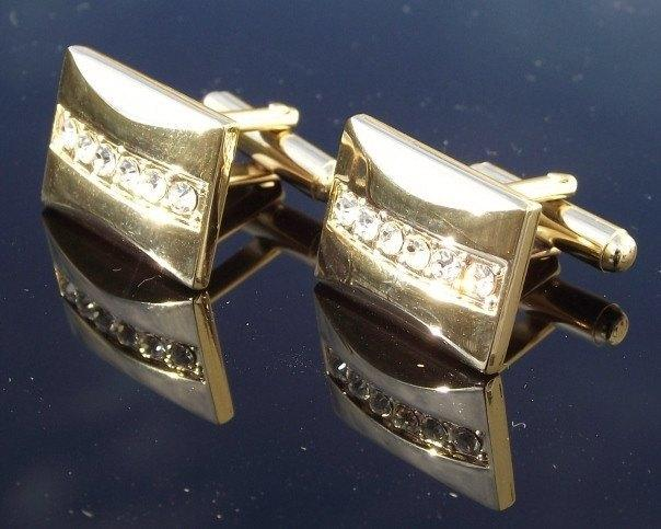 Cufflinks - Gold & Crystal Cufflinks, Zeus
