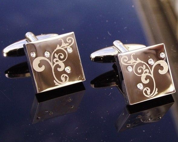 Cufflinks - Silver Scroll & Crystal Cufflinks, Sierra