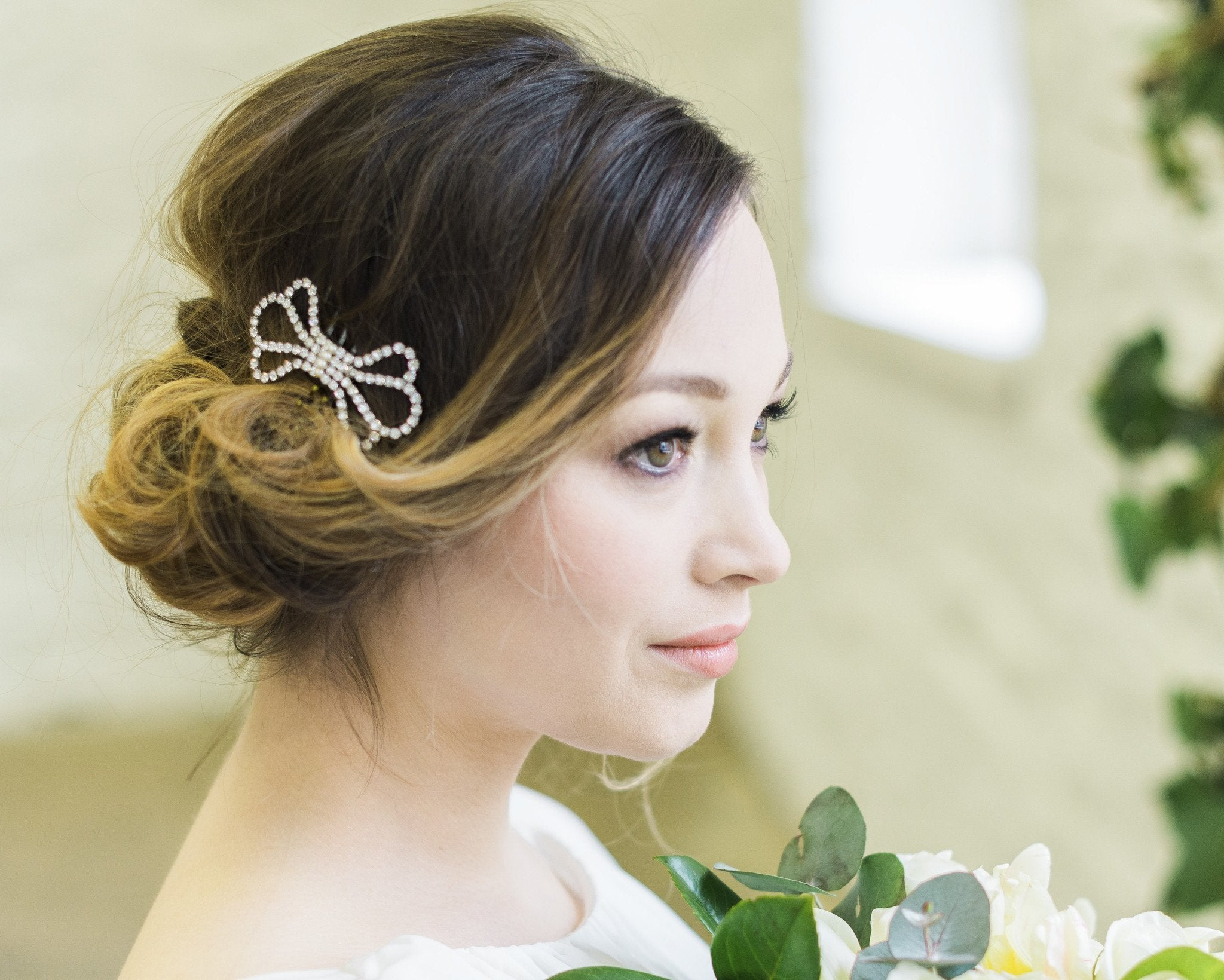 Vintage Inspired Style Wedding Comb, Bow 1