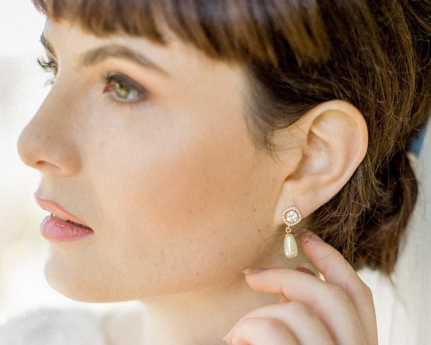 Teardrop Pearl Wedding Gold Earrings, Fifi