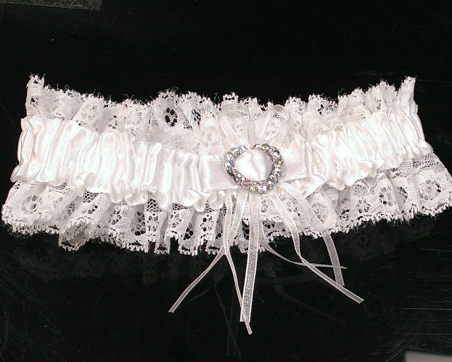 Garters - Lace Garter With Crystal Detailing