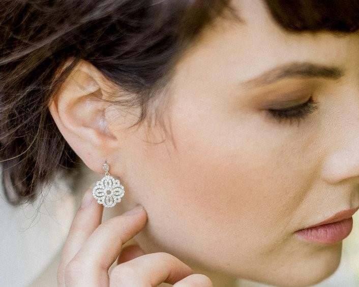 Art Deco Style Silver Earrings, Hepburn 6