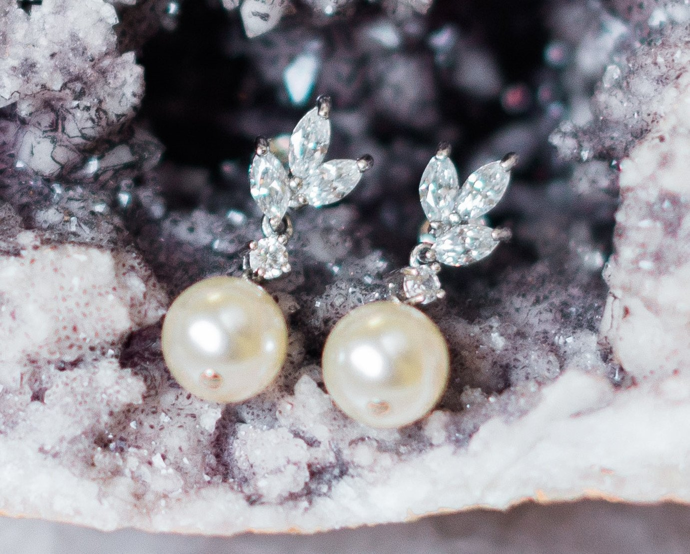 Drop Pearl and Crystal Wedding Earrings, Hetty 2