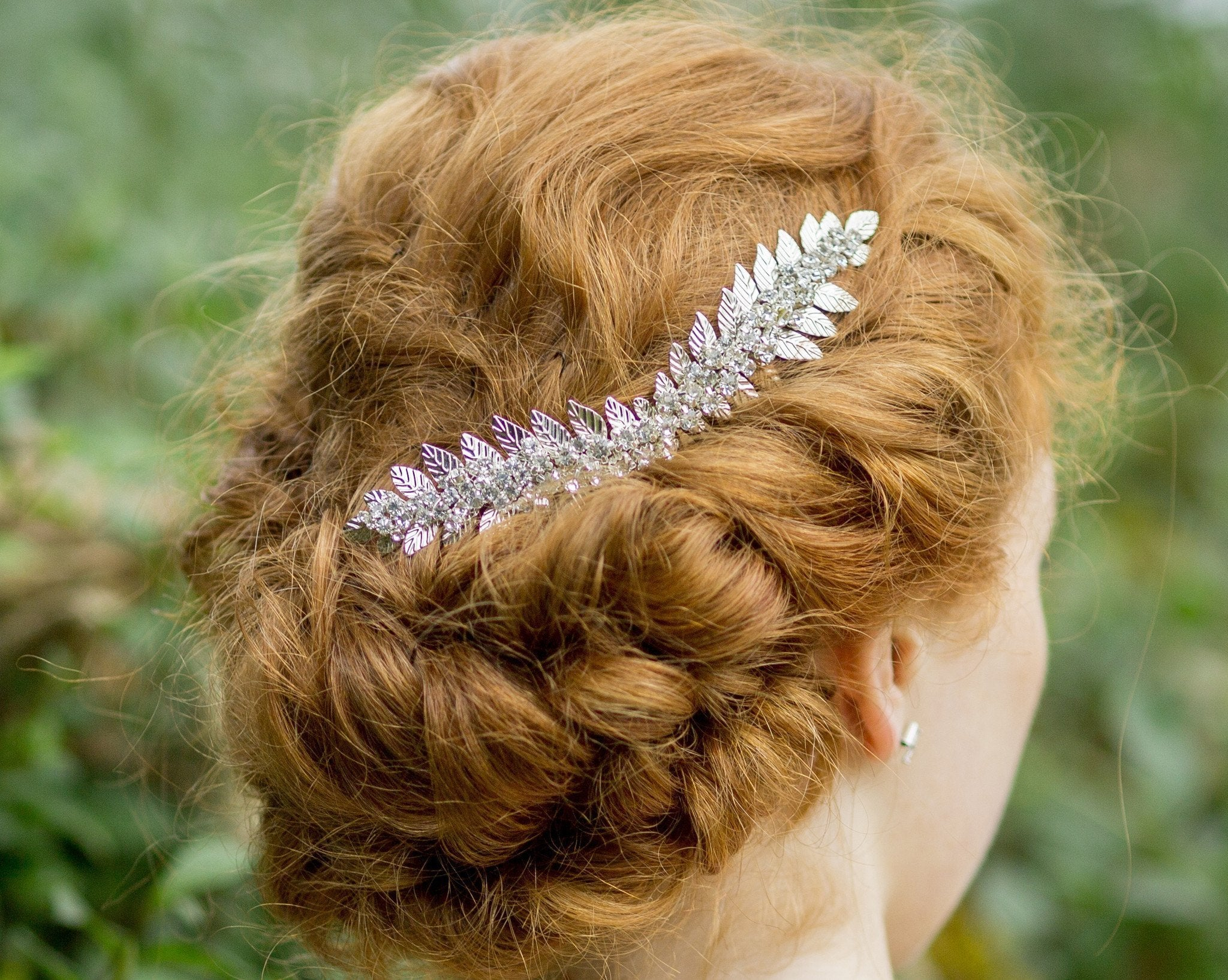 Hand-Crafted Silver Leaf & Rhinestone Headpiece, Laurel