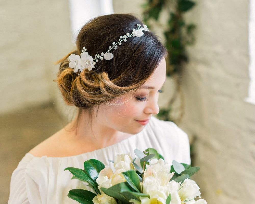 Delicate Floral and Crystal Hair Vine, Lorna 2