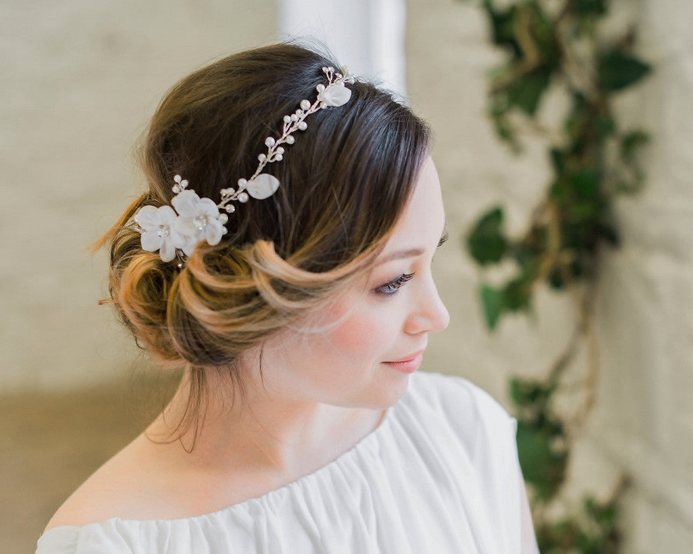 Delicate Floral and Crystal Hair Vine, Lorna 1