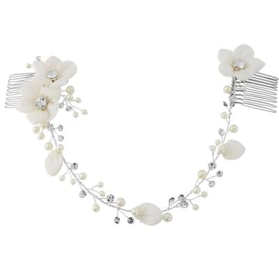 Delicate Floral and Crystal Hair Vine, Lorna 5