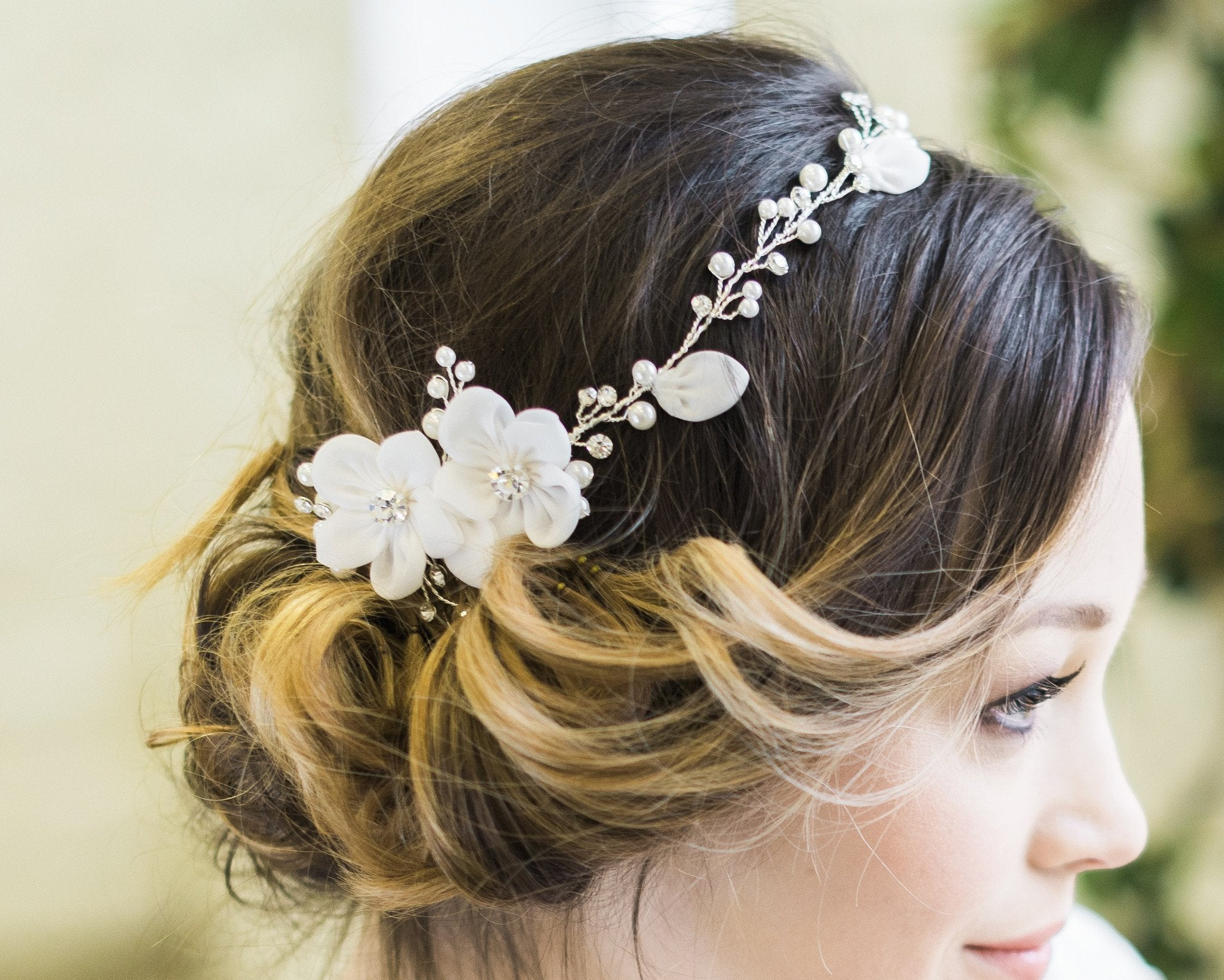 Delicate Floral and Crystal Hair Vine, Lorna 3