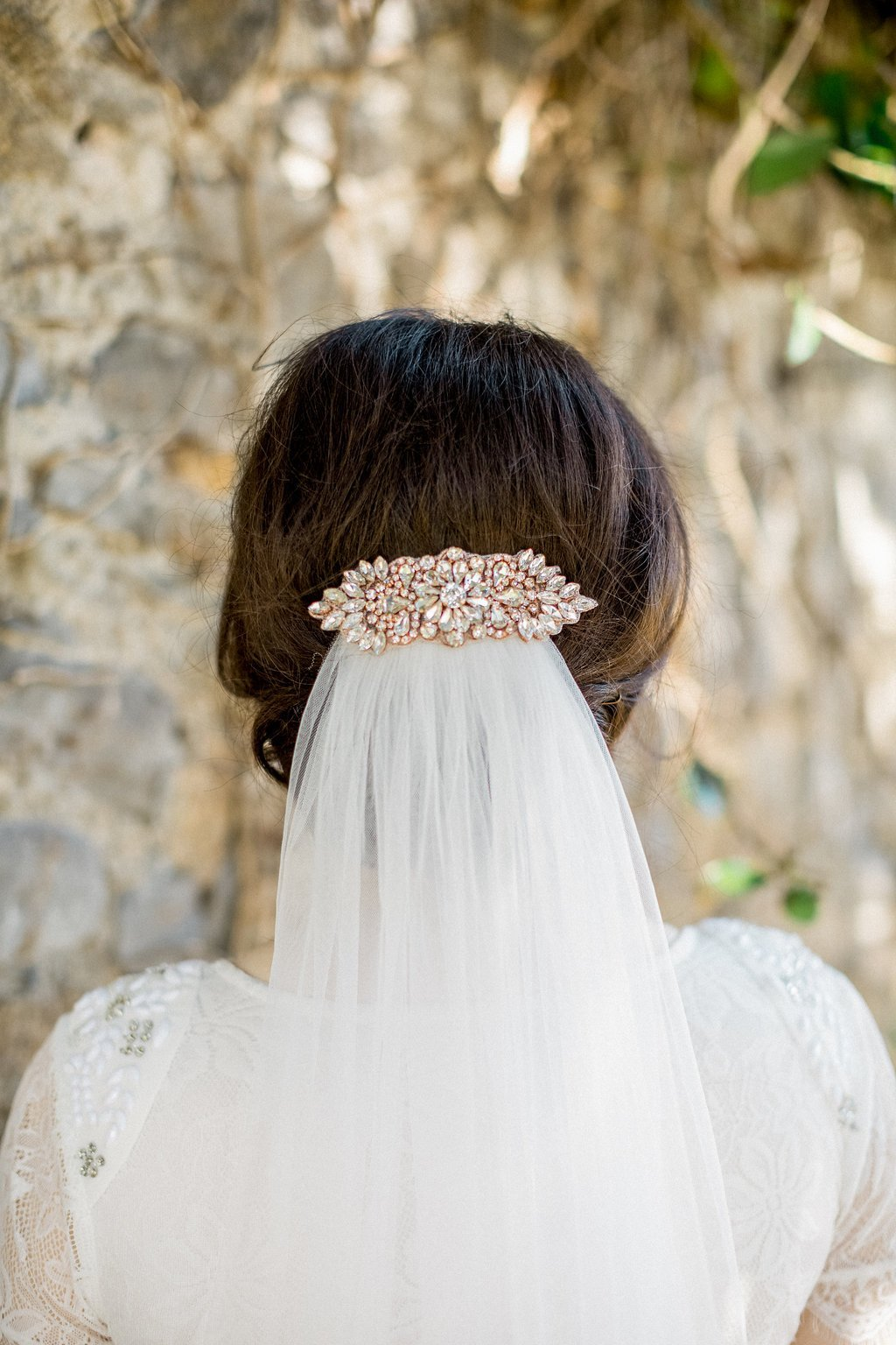 Rose Gold Appliqué Wedding Hair Comb, Lorraine 2