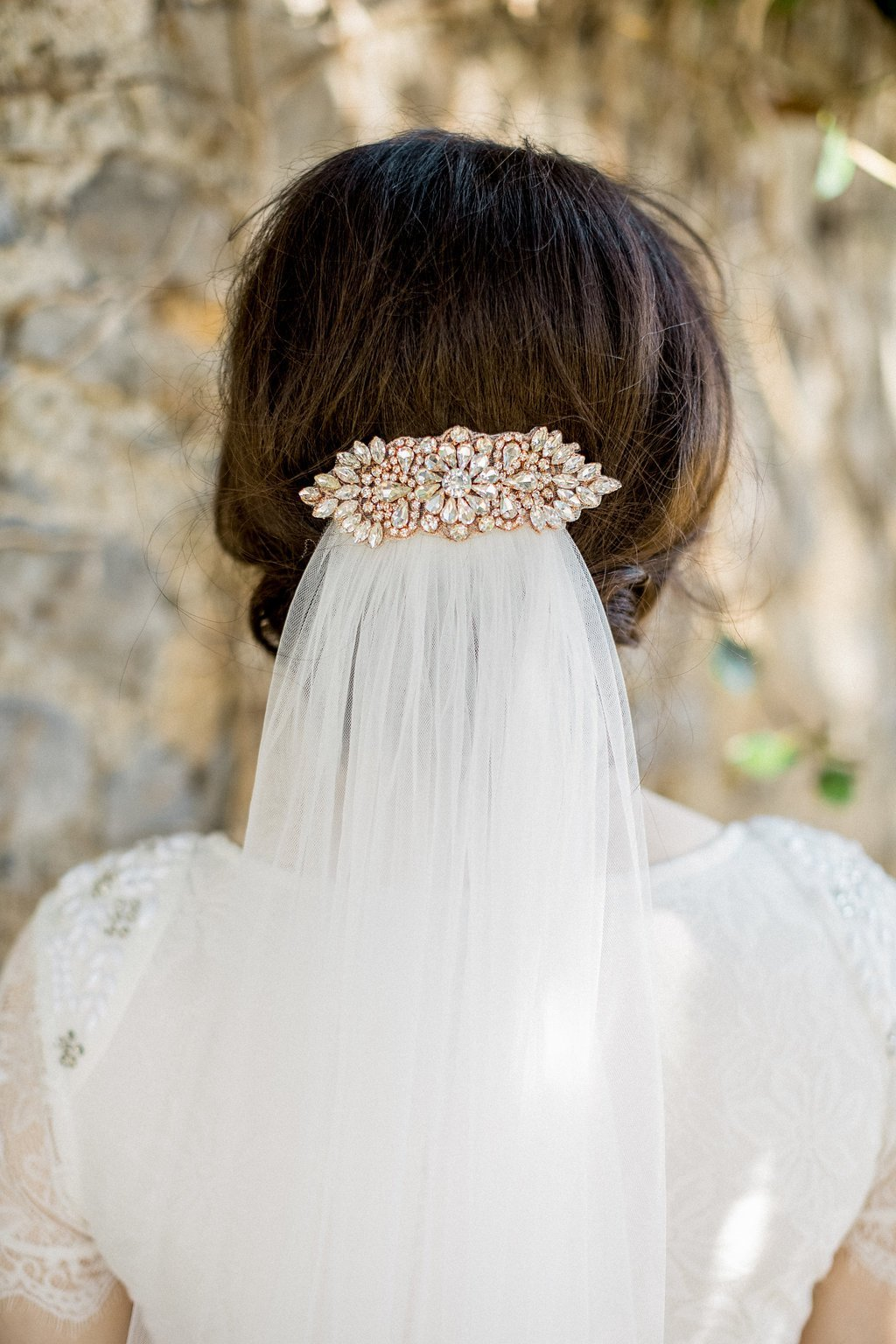 Rose Gold Appliqué Wedding Hair Comb, Lorraine 1