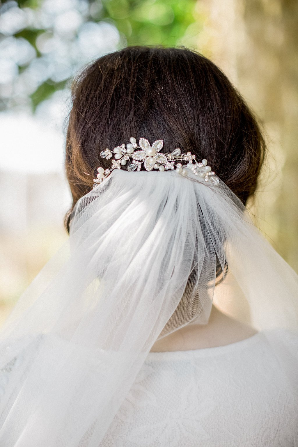 Freshwater Pearl, Floral Bridal Hair Comb, Nessa