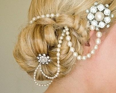 Pearl/Crystal Hair Drapes - 1920s Style Draped Pearl Wedding Headpiece, Alex