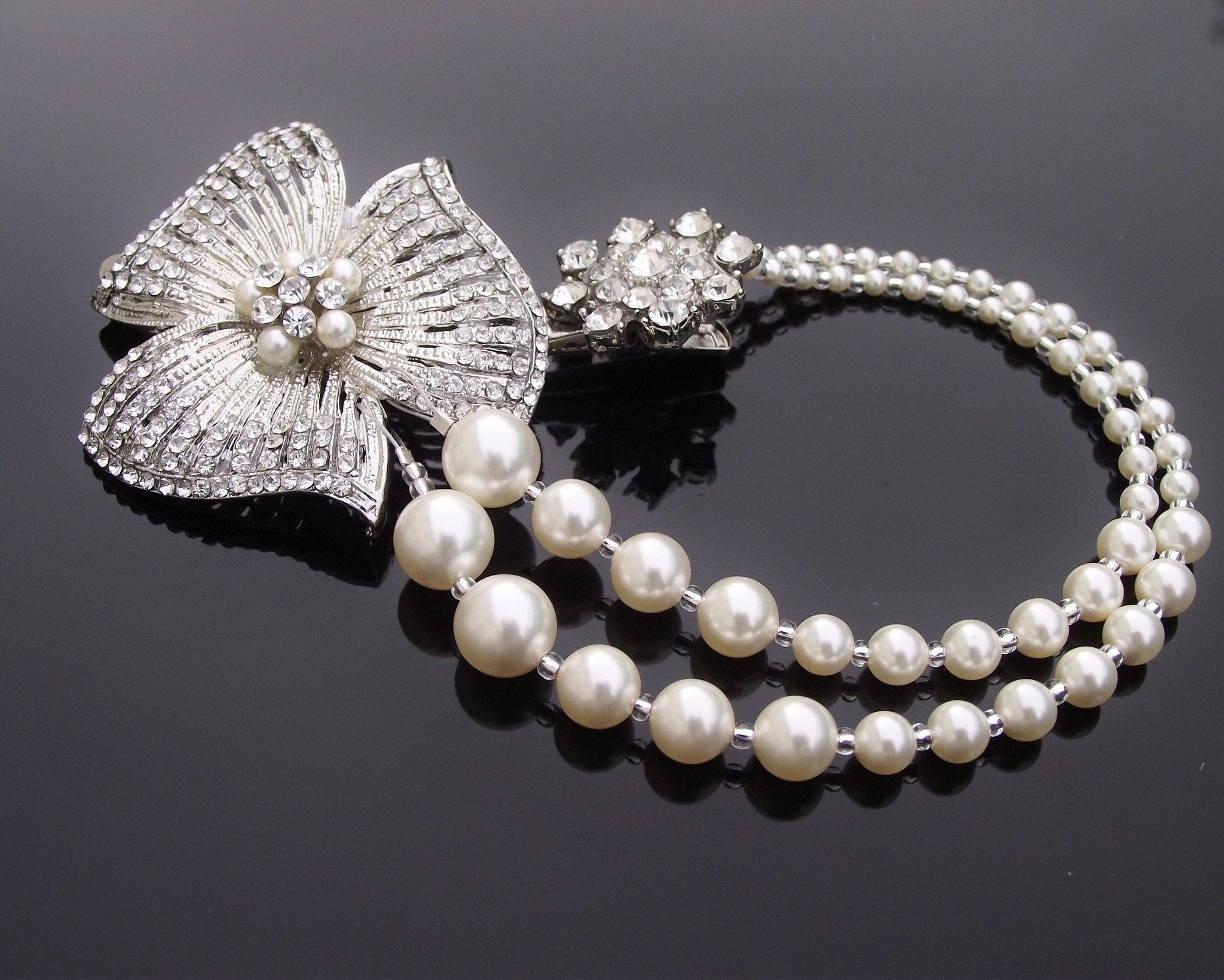Pearl/Crystal Hair Drapes - 1920s Style Vintage Draping Hair Pearls, Featured In VOGUE UK, Jessica