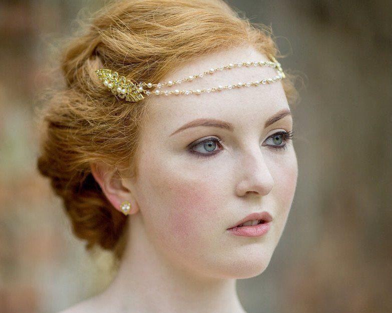Pearl/Crystal Hair Drapes - Art Deco Inspired Wedding Browband Headpiece, Bronte