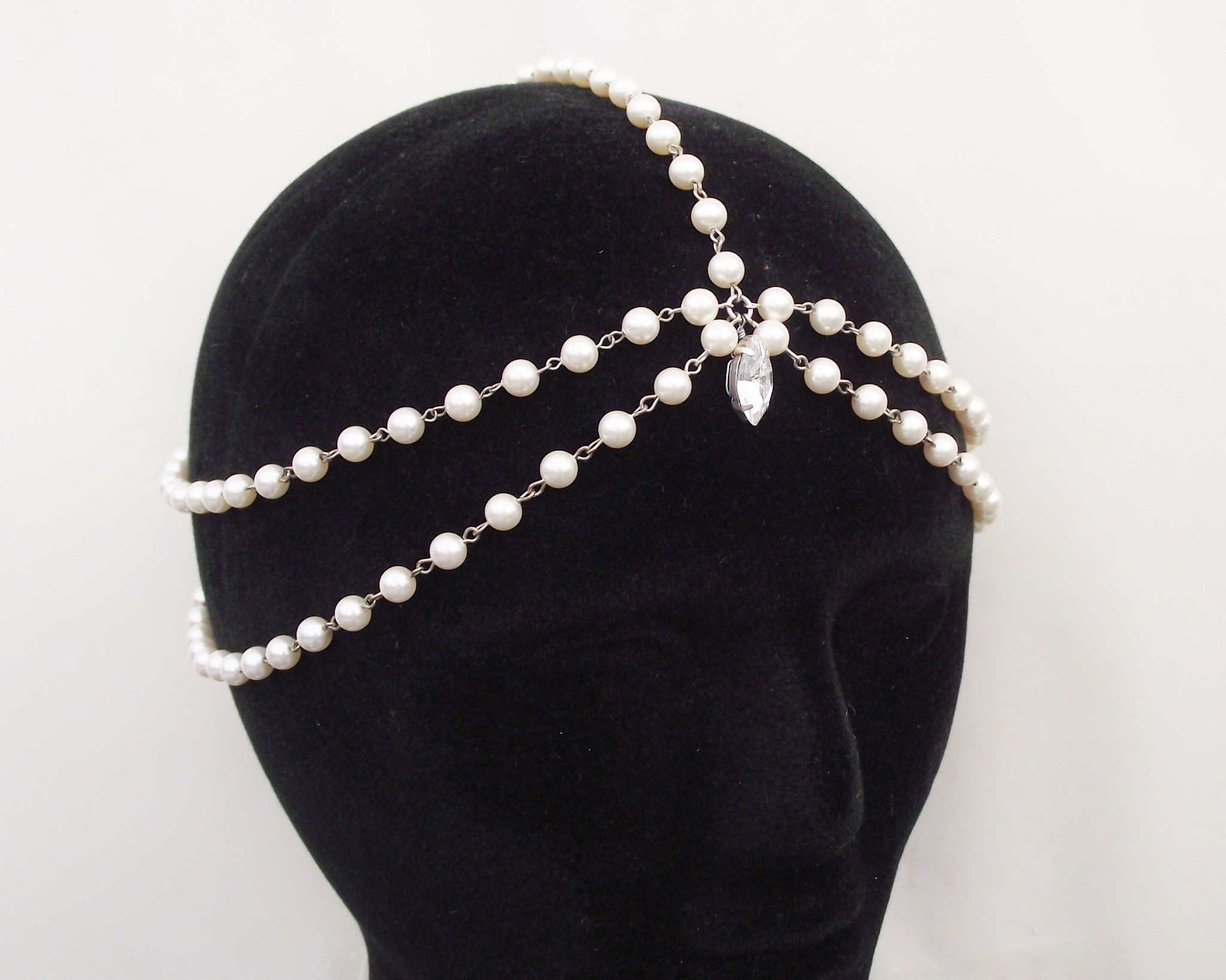 Pearl/Crystal Hair Drapes - Boho Style Draping Hair Pearls And Rhinestones, Suzie