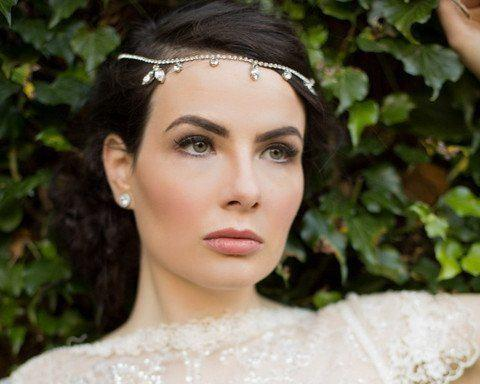 Pearl/Crystal Hair Drapes - Boho Style Forehead Band, Vintage Crystal Draping Head Piece, Kim