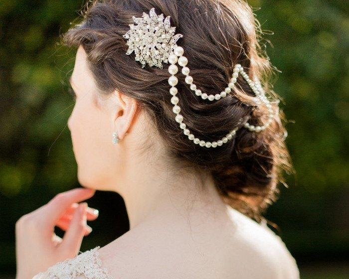 Pearl/Crystal Hair Drapes - Deco Style Draped Wedding Hair Pearls, Serena