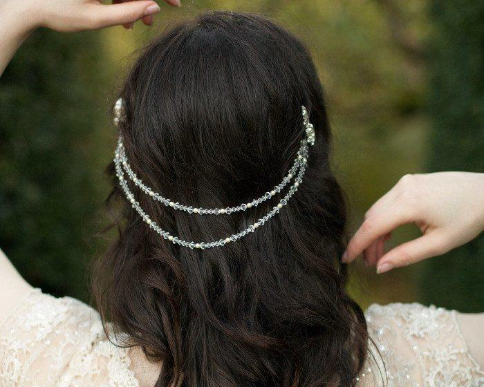Pearl/Crystal Hair Drapes - Draped Wedding Crystal And Pearl Headpiece, Alyson