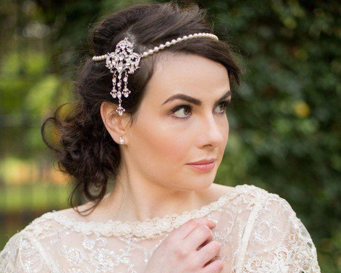 Pearl/Crystal Hair Drapes - Gatsby Style Brow Band With Vintage Feature, Imelda Pearl