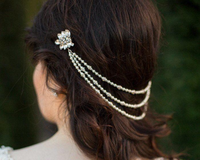 Pearl/Crystal Hair Drapes - Grecian Style Statement Headpiece, Rhinestone Feature Clasps, Marina