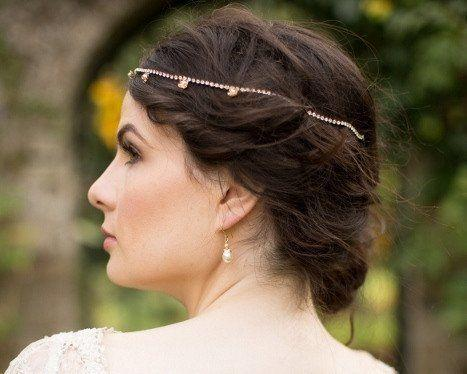 Pearl/Crystal Hair Drapes - Jewelled Wedding Headpiece With Pearl Flowers, Marian