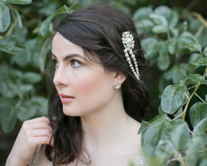Pearl/Crystal Hair Drapes - Old World Charm, Vintage Style Headpiece With Draping Pearls, Lucy
