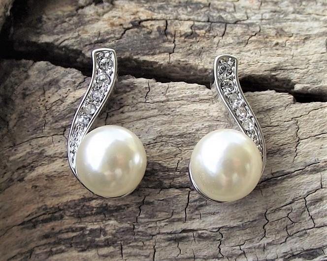 Pearl & Crystal Stud Earrings, Ricki 4