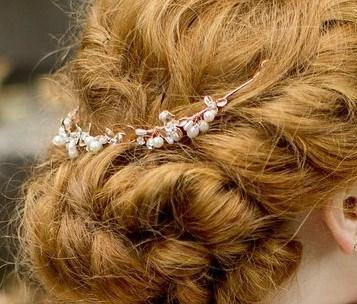 Rose Gold Leaf and Freshwater Pearl Headpiece, Rose Vine
