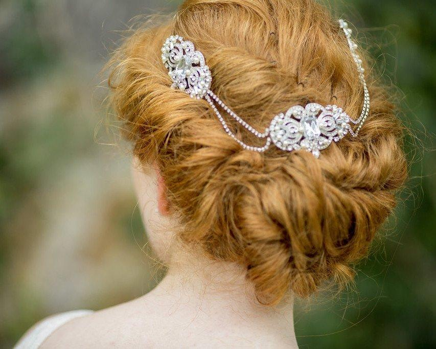 Diamante Double Drop Crystal Wedding Headpiece, Sam-2