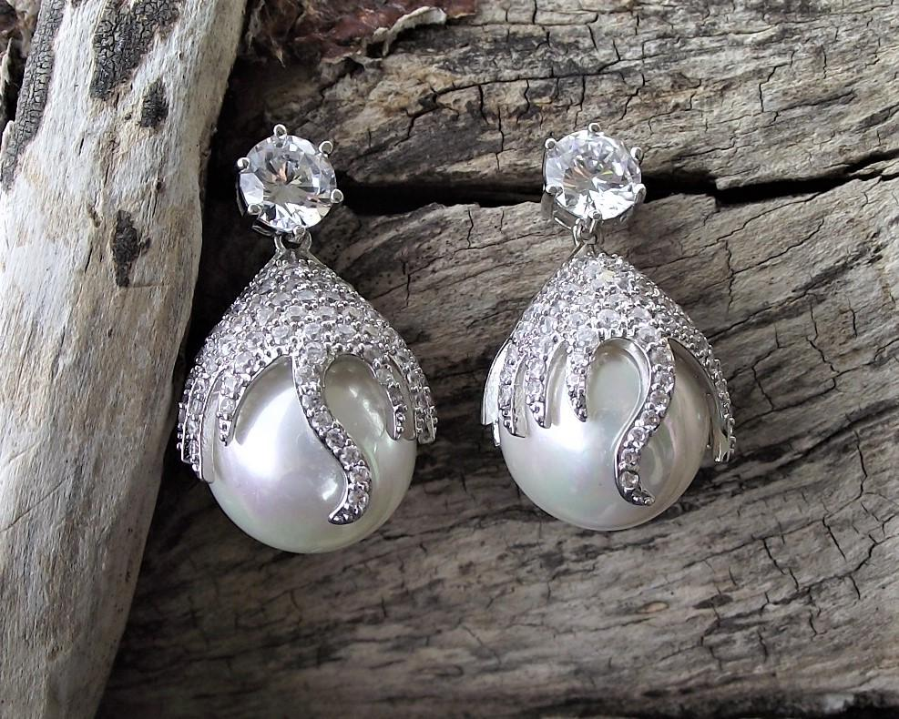 Statement Pearl Drop Earrings, Shanghai