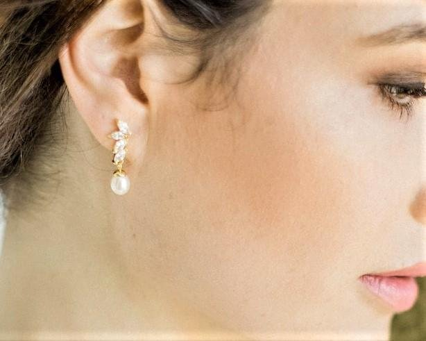 Teardrop Pearl Wedding Gold Earrings, Shelly 12