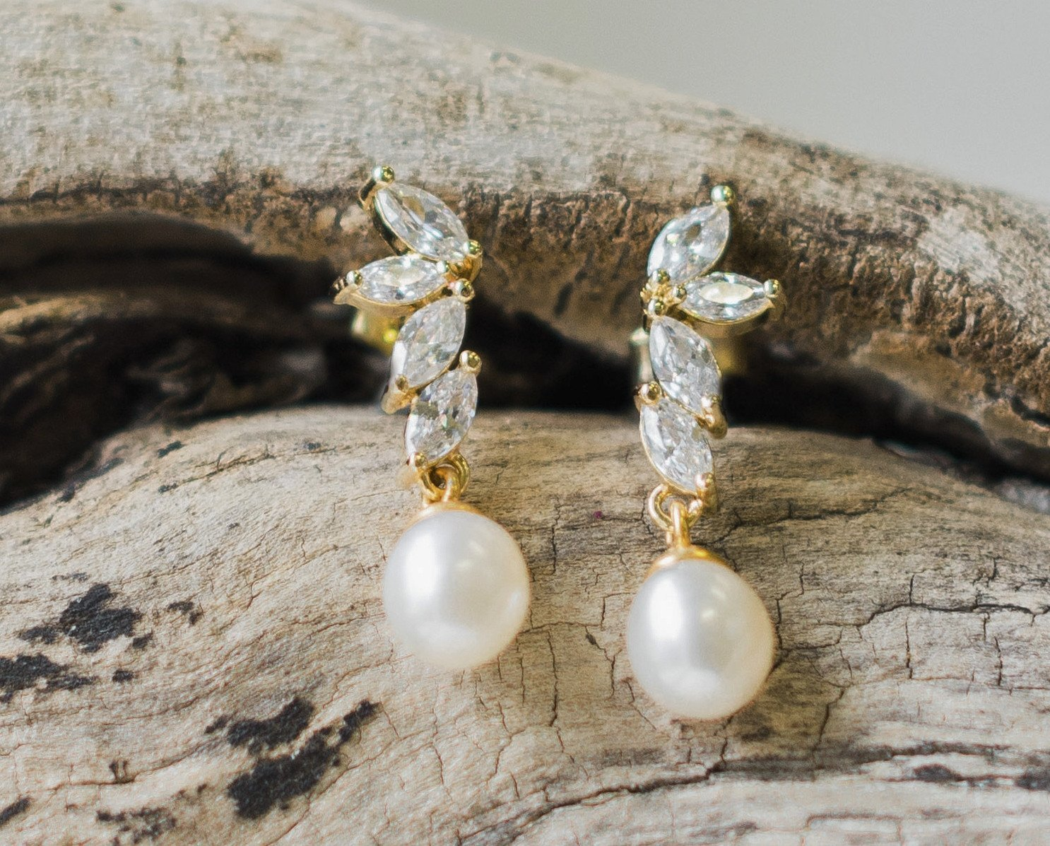 Teardrop Pearl Wedding Gold Earrings, Shelly 3