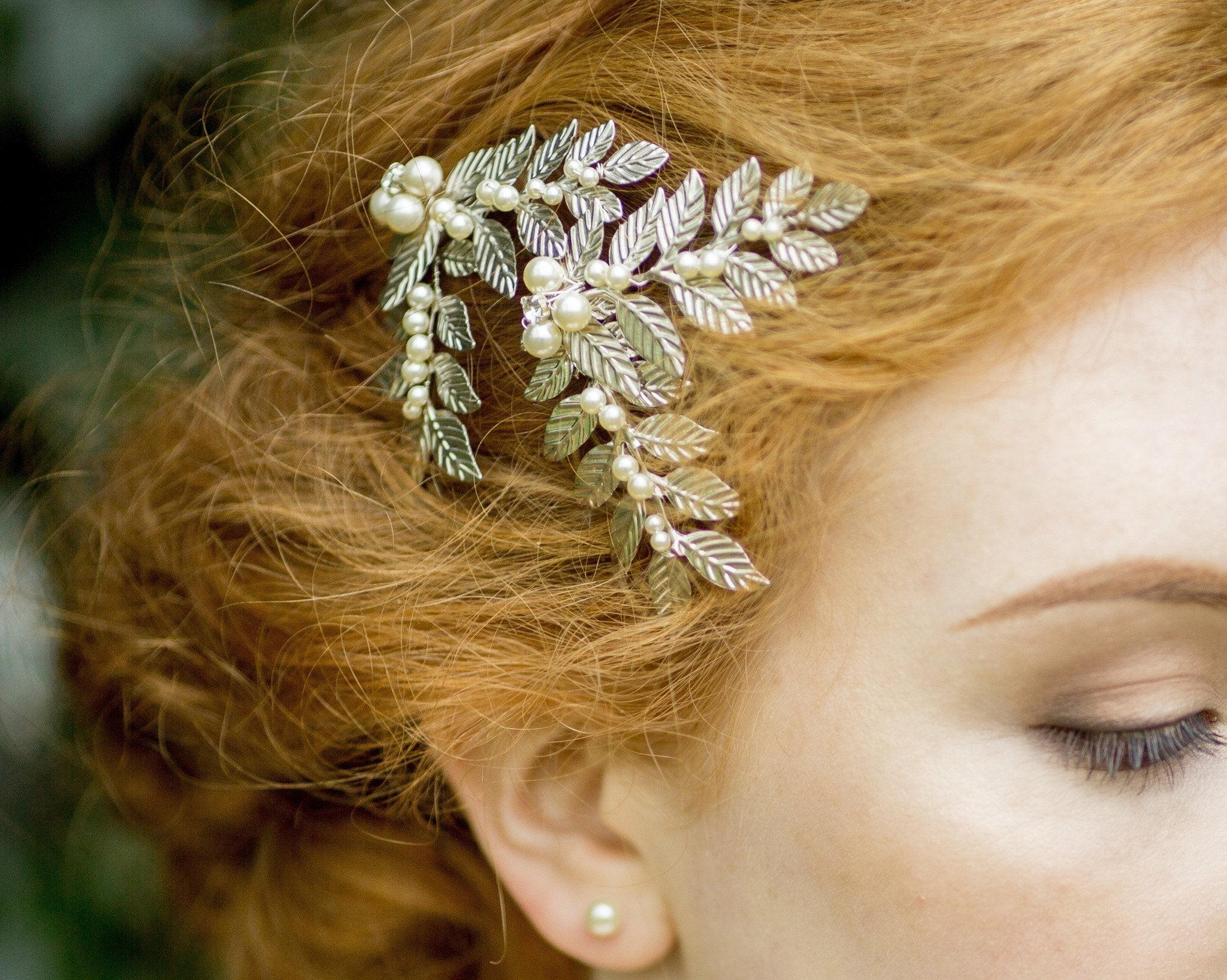 Nature Inspired Leaf & Pearl Hair Clip, Laurel Silver Mini
