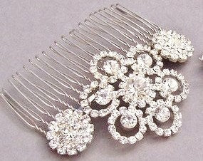 Crystal Rhinestone Bridal Comb, Crystal Head Piece, MILAN